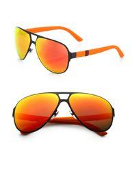 Gucci - Orange Metal Navigator Sunglasses for Men - Lyst