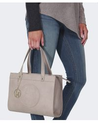 Armani Jeans - Natural Small Leather Shopper Bag - Lyst