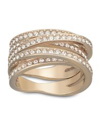 Swarovski | Pink Spiral Rose Goldtone Crystallized Ring | Lyst