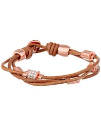 Fossil | Pink Barrel Leather Bracelet | Lyst