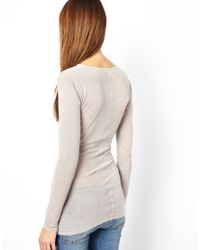M.i.h Jeans - Gray The Long Sleeve Skinny Tee - Lyst