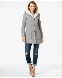 Jessica Simpson | Gray Faux-shearling-lined Wool Toggle Coat | Lyst
