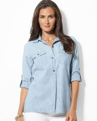 Ralph Lauren | Blue Lauren Roll Sleeve Shirt with Embroidery | Lyst