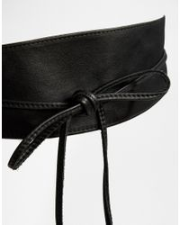 Pieces - Black Leather Tassle Tie Waist Belt. - Lyst