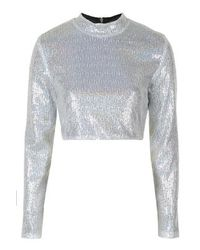 b270df7ffd3a3d TOPSHOP Silver Sequin Long Sleeve Crop Top By Jaded London in Gray ...