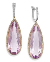 Macy's | Purple Amethyst (30 Ct. T.w.) And Diamond (3/4 Ct. T.w.) Earrings In 14k Gold | Lyst