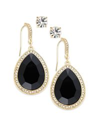 INC International Concepts | Black Gold-tone Jet Stone And Pave Edge Teardrop And Round Clear Crystal Stud Earring Set | Lyst