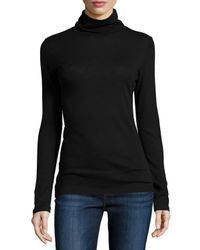 Neiman Marcus - Black Cotton/cashmere Long-sleeve Turtleneck Top - Lyst