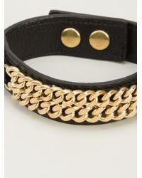 Saint Laurent - Black Chain Detail Cuff for Men - Lyst