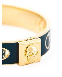 Alexander McQueen - Blue Enamel Skull Bracelet - Lyst