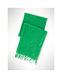 Polo Ralph Lauren | Green Crinkled Cotton Scarf for Men | Lyst