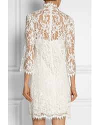 Marchesa - White Embellished Lace Mini Dress - Lyst