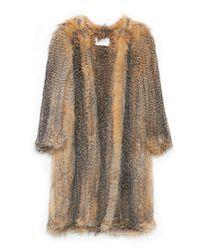 Yves Salomon - Brown Knitted Fox Jacket - Lyst