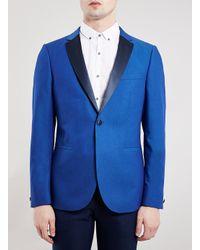 TOPMAN - Premium Cobalt Blue Skinny Fit Tuxedo Jacket for Men - Lyst
