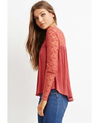 Forever 21 - Orange Embroidered Lace Top - Lyst