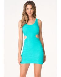 Bebe | Blue Cutout Bodycon Tank Dress | Lyst