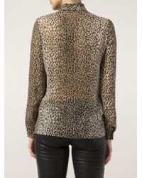 Saint Laurent - Multicolor Leopard Print Blouse - Lyst