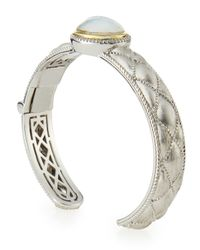 Jude Frances - Metallic Silver Diamond & Mother-of-pearl Doublet Beaded Cuff Bracelet - Lyst
