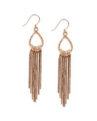Lucky Brand | Metallic Goldtone Ring And Tassel Drop Earrings | Lyst