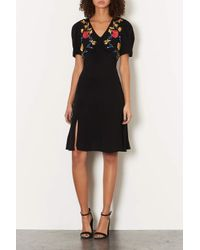 TOPSHOP - Black Embroidered Midi Tea Dress - Lyst