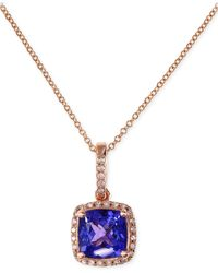 Effy Collection - Metallic Tanzanite (1-5/8 Ct. T.w.) And Diamond (1/8 Ct. T.w.) Pendant Necklace In 14k Rose Gold - Lyst