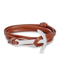 Miansai   Brown Anchor Leather Wrap Bracelet for Men   Lyst