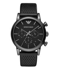 Emporio Armani - Metallic Perforated Leather Strap Watch for Men - Lyst