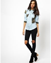 Glamorous | Blue Denim Shirt with Camo | Lyst