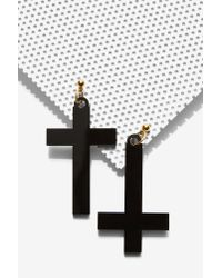 Nasty Gal | Black I Still Love You Nyc Right Side Wrong Side Cross Earrings | Lyst