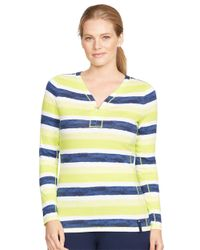 Lauren by Ralph Lauren | Multicolor Plus Striped Half Zip Shirt | Lyst