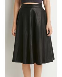 Forever 21 | Black Contemporary Faux Leather A-line Skirt | Lyst