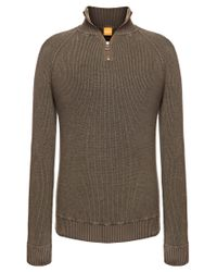 BOSS Orange | Green Sweater 'kincent' In Cotton Blend for Men | Lyst
