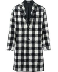 AMI - Black Checked Coat for Men - Lyst
