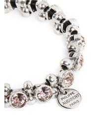 Philippe Audibert - Pink Silver Trimmed Round Crystal Bracelet - Lyst