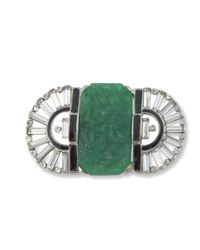 Kenneth Jay Lane | Multicolor Jade Art Deco Brooch | Lyst