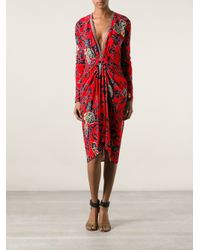 Etro - Red Embellished Crepe De Chine Midi Dress - Lyst