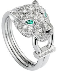 Cartier | Metallic Panthère De 18ct White-gold, Diamond, Onyx And Emerald Ring | Lyst