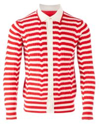 Side Slope - Red Striped Cardigan for Men - Lyst