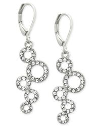 T Tahari | Metallic Silver-tone Pavé Squiggle Circle Drop Earrings | Lyst