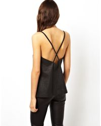 ASOS - Black Cami with Cutwork Panels in Leather Look - Lyst