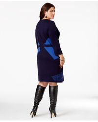 Spense | Blue Plus Size Intarsia-knit Colorblock Sweater Dress | Lyst
