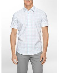 Calvin Klein | Blue White Label Classic Fit Textured Dobby Check Short Sleeve Shirt for Men | Lyst