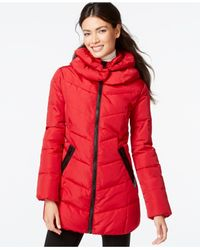 Calvin Klein | Red Faux-leather-trim Funnel-collar Quilted Coat | Lyst