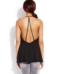 Forever 21 - Black Standout Caged Back Top - Lyst