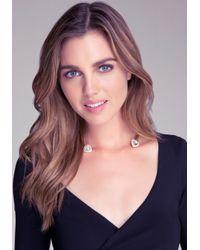 Bebe | Metallic Crystal Collar Necklace | Lyst