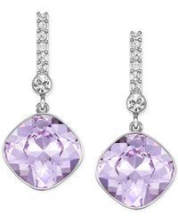 Swarovski | Purple Rhodium-plated Violet Crystal Drop Earrings | Lyst
