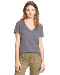 Madewell - Gray 'whisper' Cotton V-neck Pocket Tee - Lyst