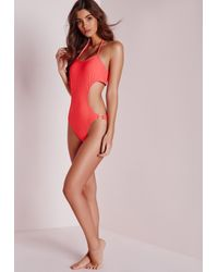 Missguided | Pink Eyelet Cut Out Swimsuit Coral | Lyst