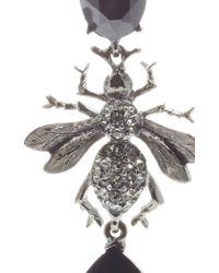 Oscar de la Renta - Metallic Jet Crystal Bee Long Drop Earring - Lyst