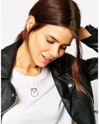 ASOS - Metallic Fine Chain Open Shape Necklace - Lyst